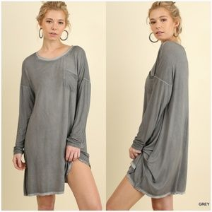 NEW Mineral Washed Long Sleeve Dress w/ pocket